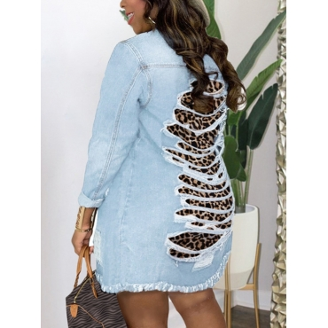 LW Plus Size Leopard Print Ripped Denim Jacket