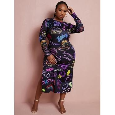 LW Plus Size Letter Heart Print Slit Dress
