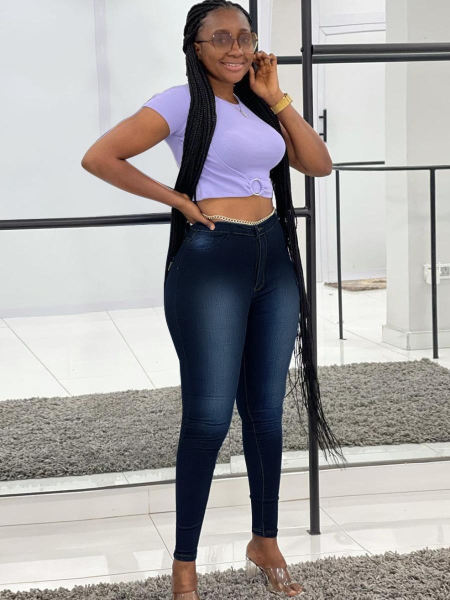 LW High-waisted Pocket Design Skinny Jeans