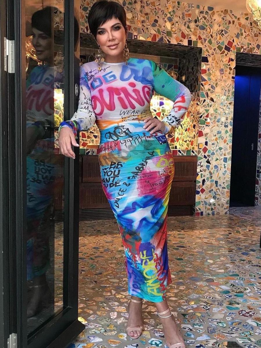 LW Graffiti Tie Dye Bodycon Dress