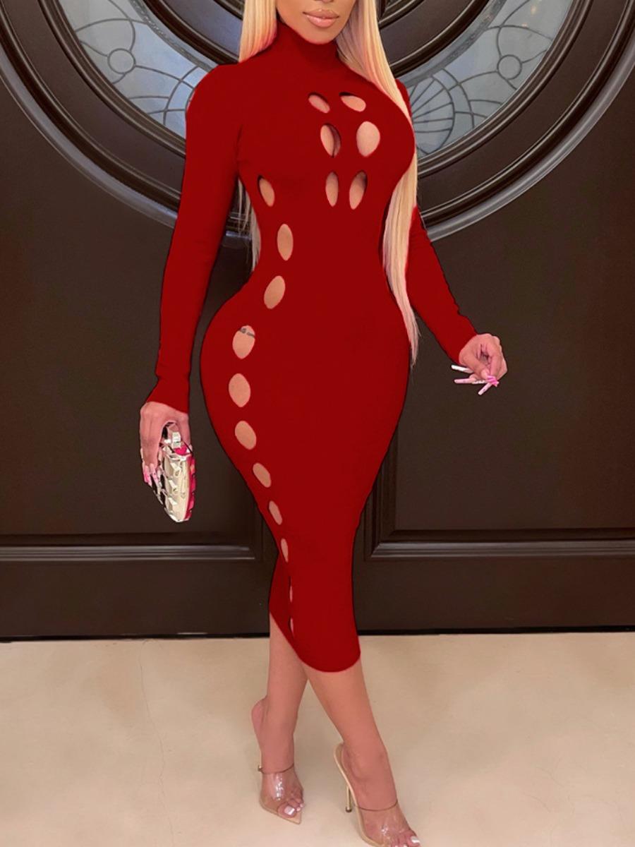 LW SXY Ripped Basic Bodycon Dress