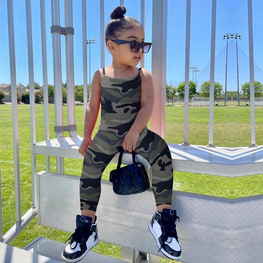 LW COTTON Girl Camo Print Cami Jumpsuit