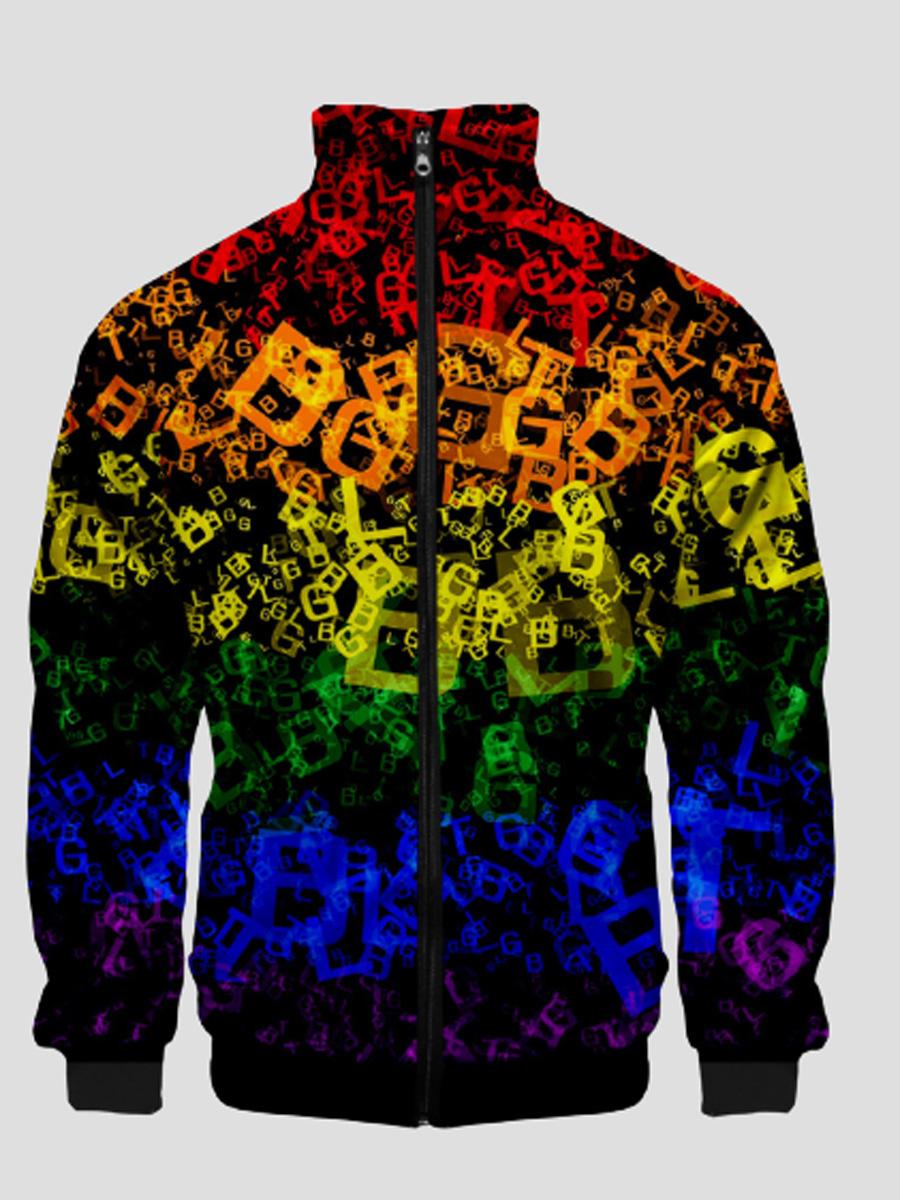 LW Men Rainbow Letter Print Zipper Design Jacket