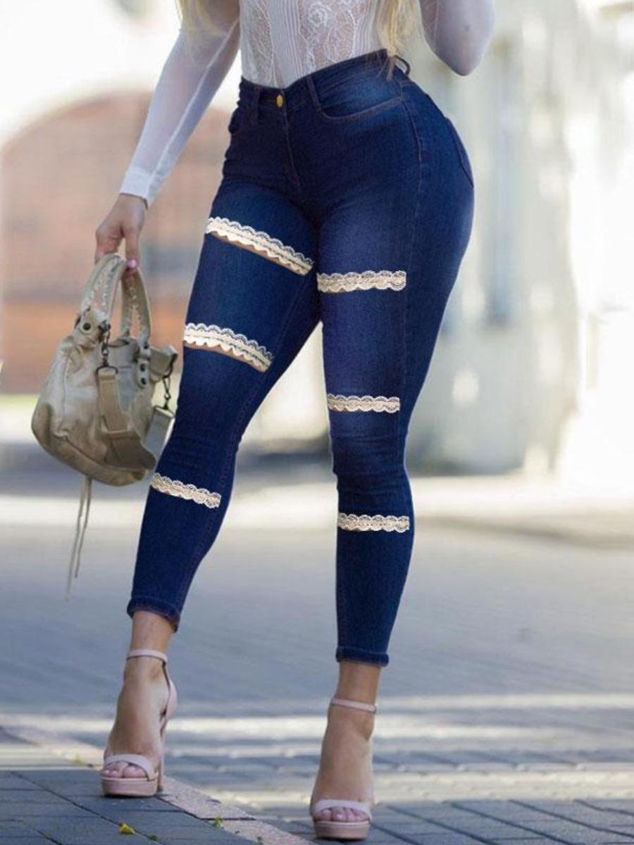 LW BASICS High-waisted Lace Hem Skinny Jeans