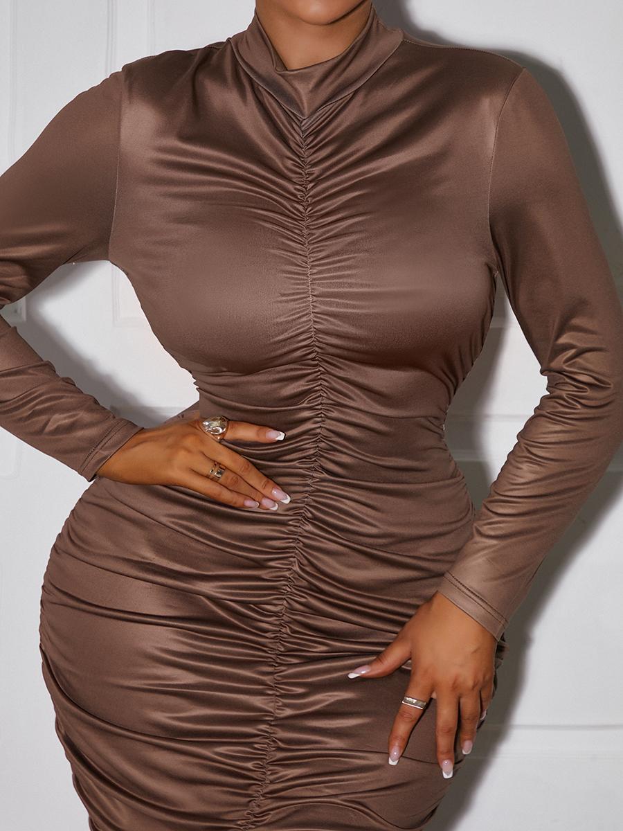 LW Half A Turtleneck Ruched Bodycon Dress