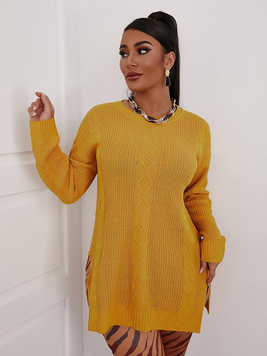 LW Round Neck Rib-Knit  Slit Sweater