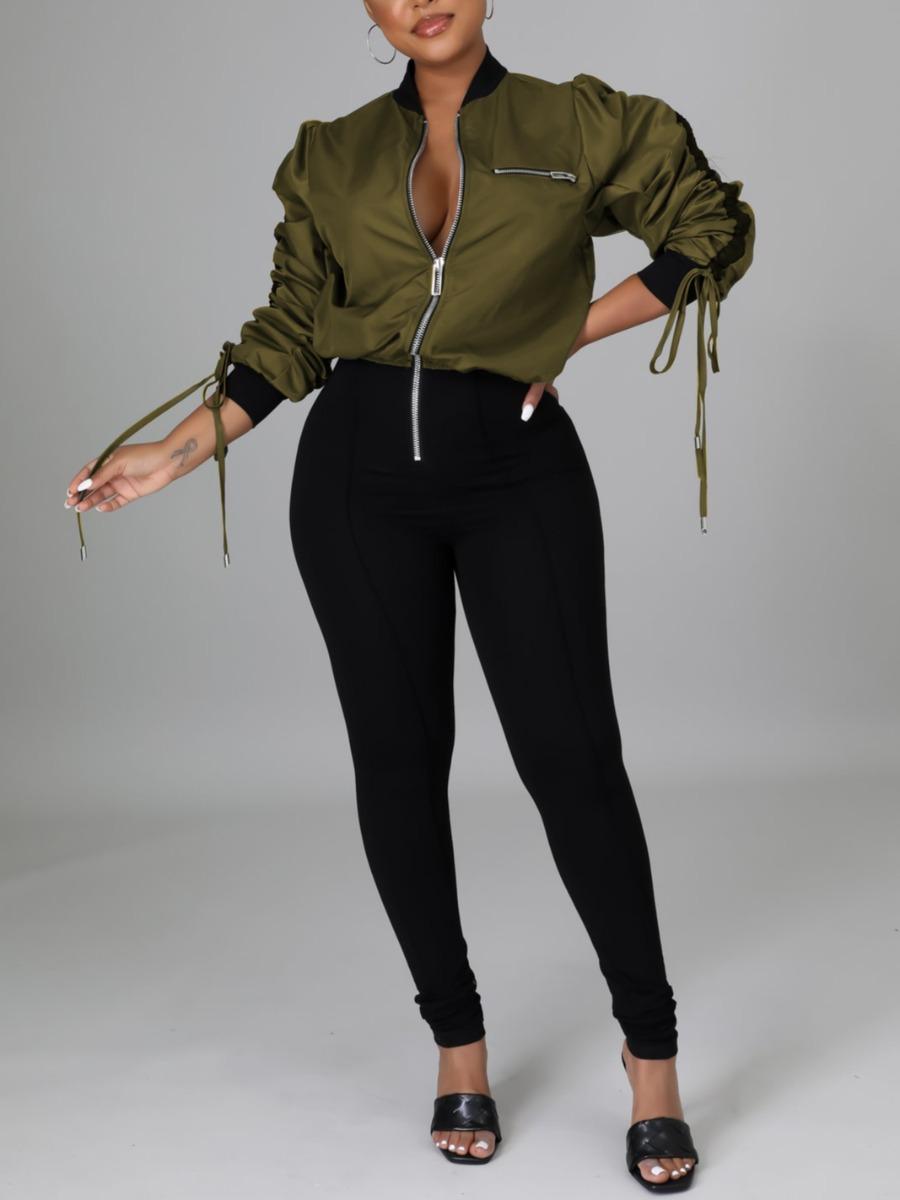 LW Drawstring Patchwork Zipper Design Jumpsuit