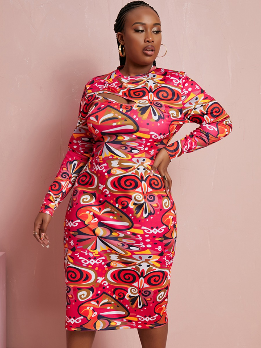 LW SXY Plus Size Mixed Print Hollow-out Thigh Slit Bodycon Dress