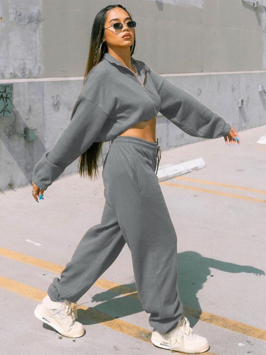LW Casual Zipper Design Crop Top Basic Pants Set