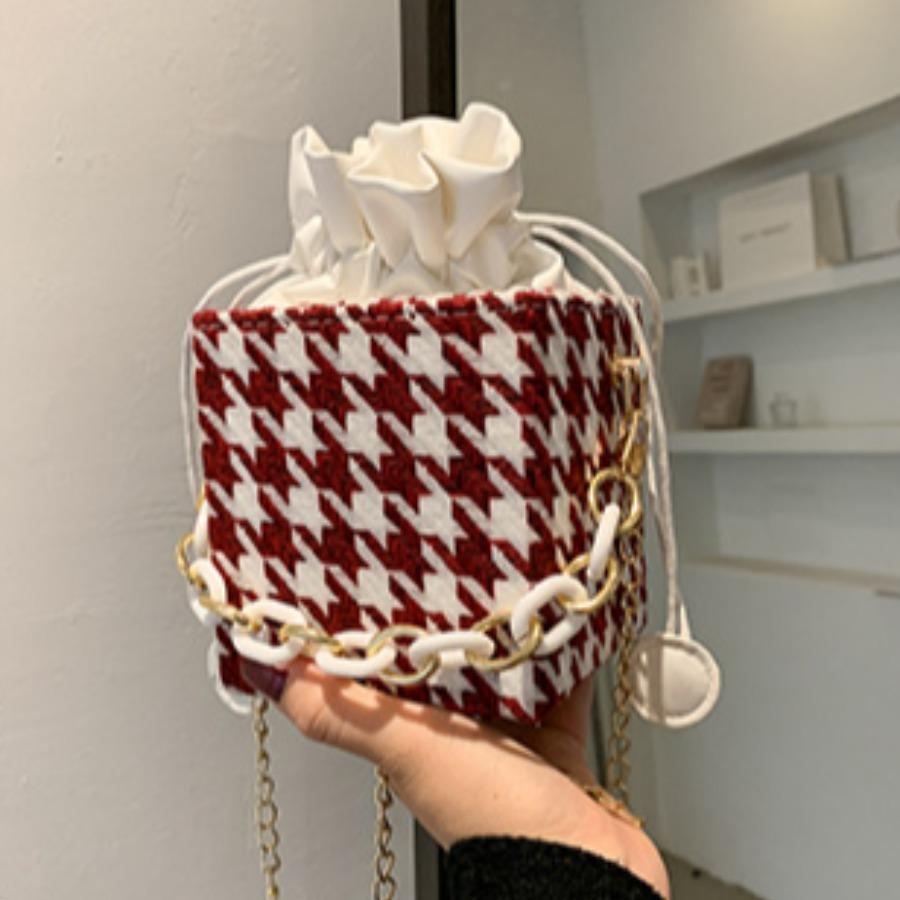 LW Casual Houndstooth Pattern Crossbody Bag