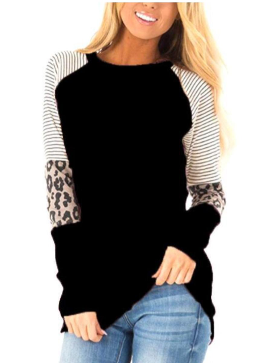 LW COTTON Plus Size Leopard Striped Patchwork T-shirt