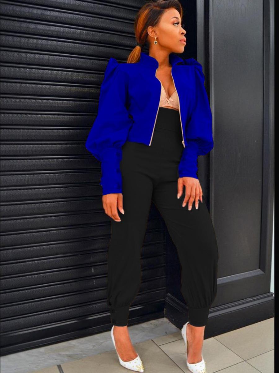 LW Puff Sleeve Zipper Design Jacket