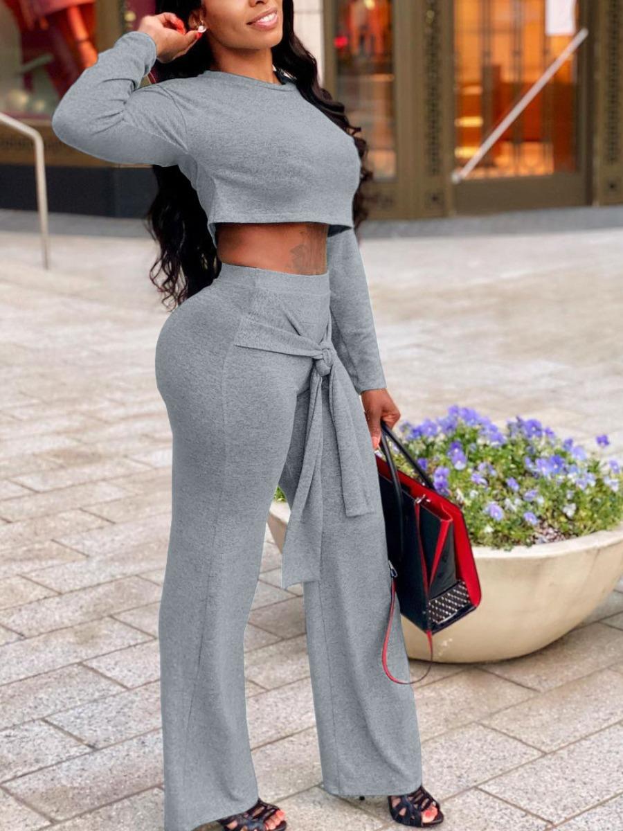 LW Bandage Crop Top Basic Pants Set