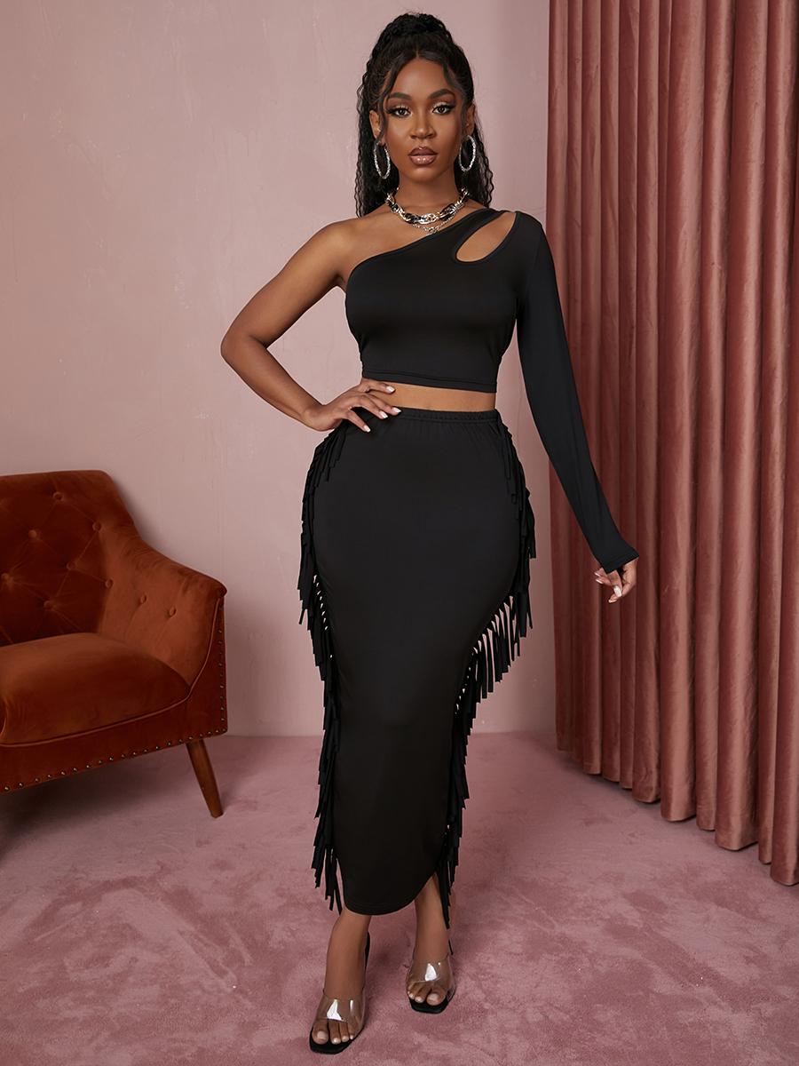 LW SXY One Shoulder Tassel Design Skirt Set