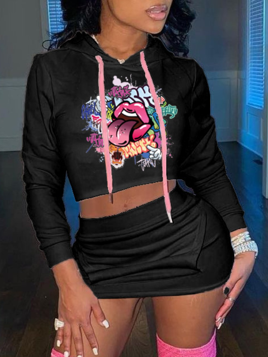 LW Sweat Letter Lip Print Pocket Design Skirt Set