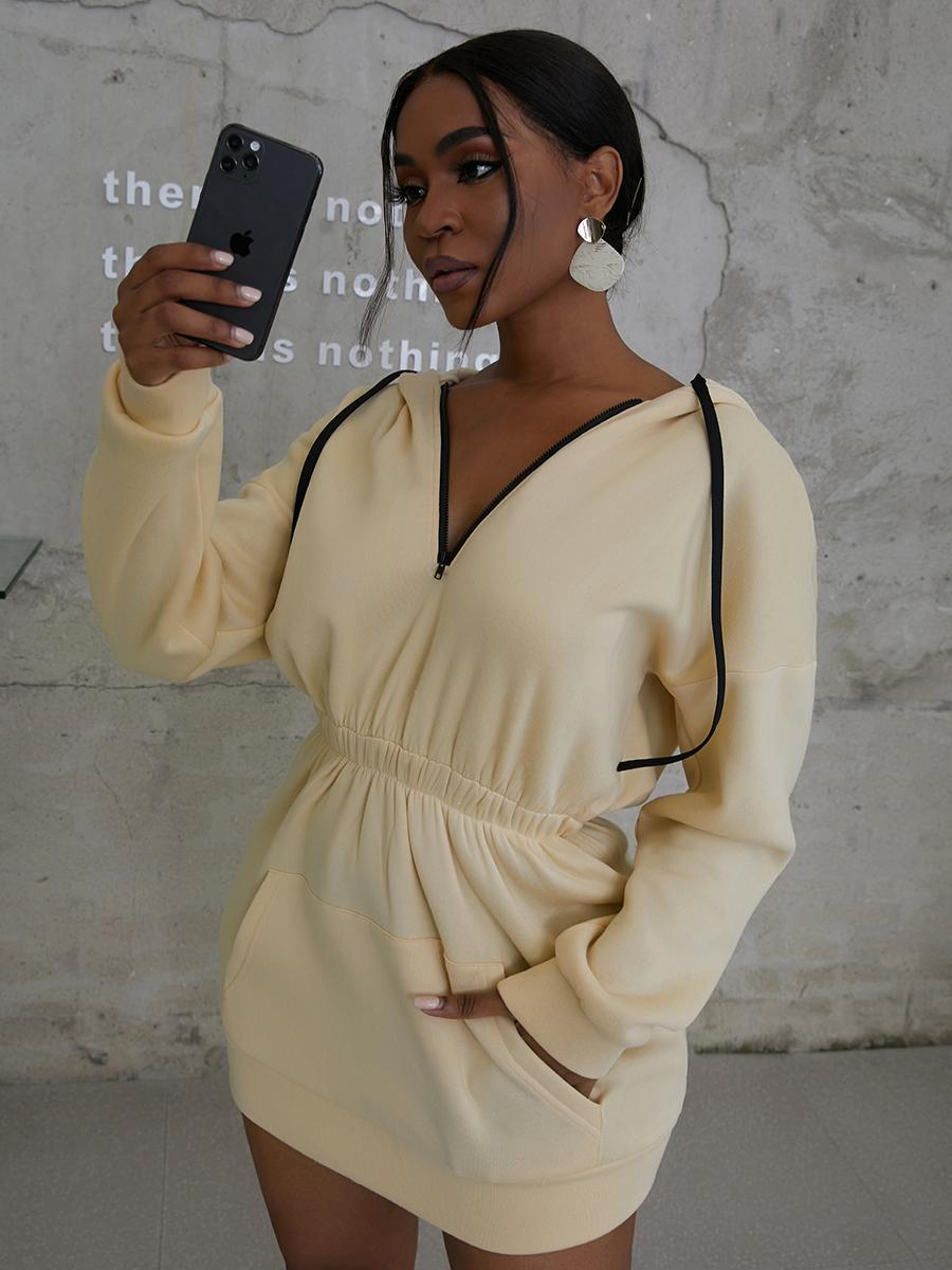LW COTTON Hooded Collar Kangaroo Pocket Sweat Dress