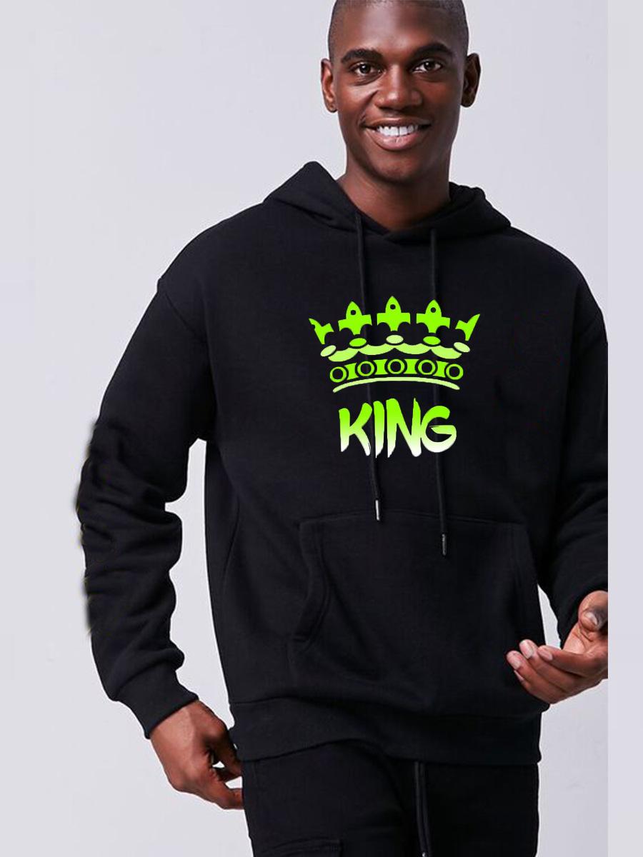 LW Men Letter King Print Pocket Design Hoodie