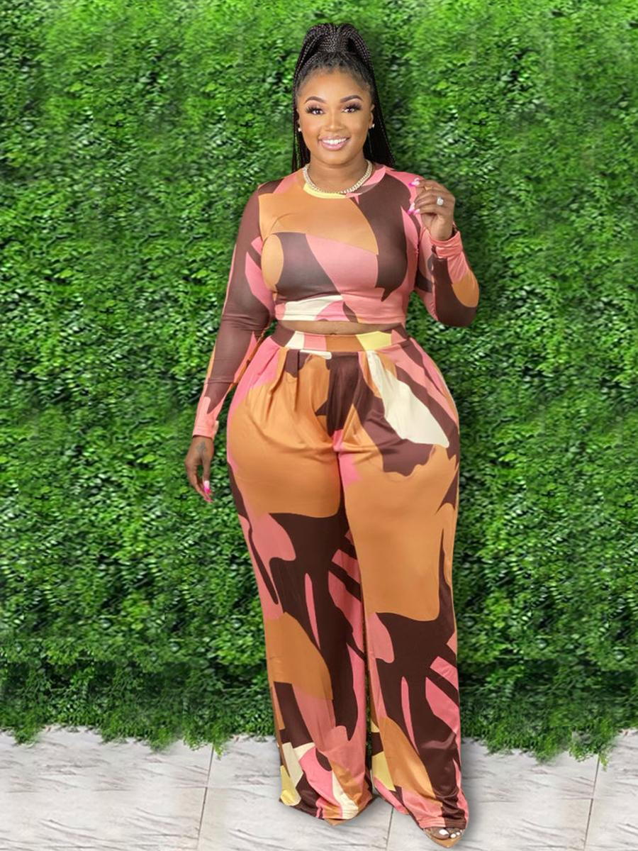 LW Plus Size Color Block Crop Top Pants Set