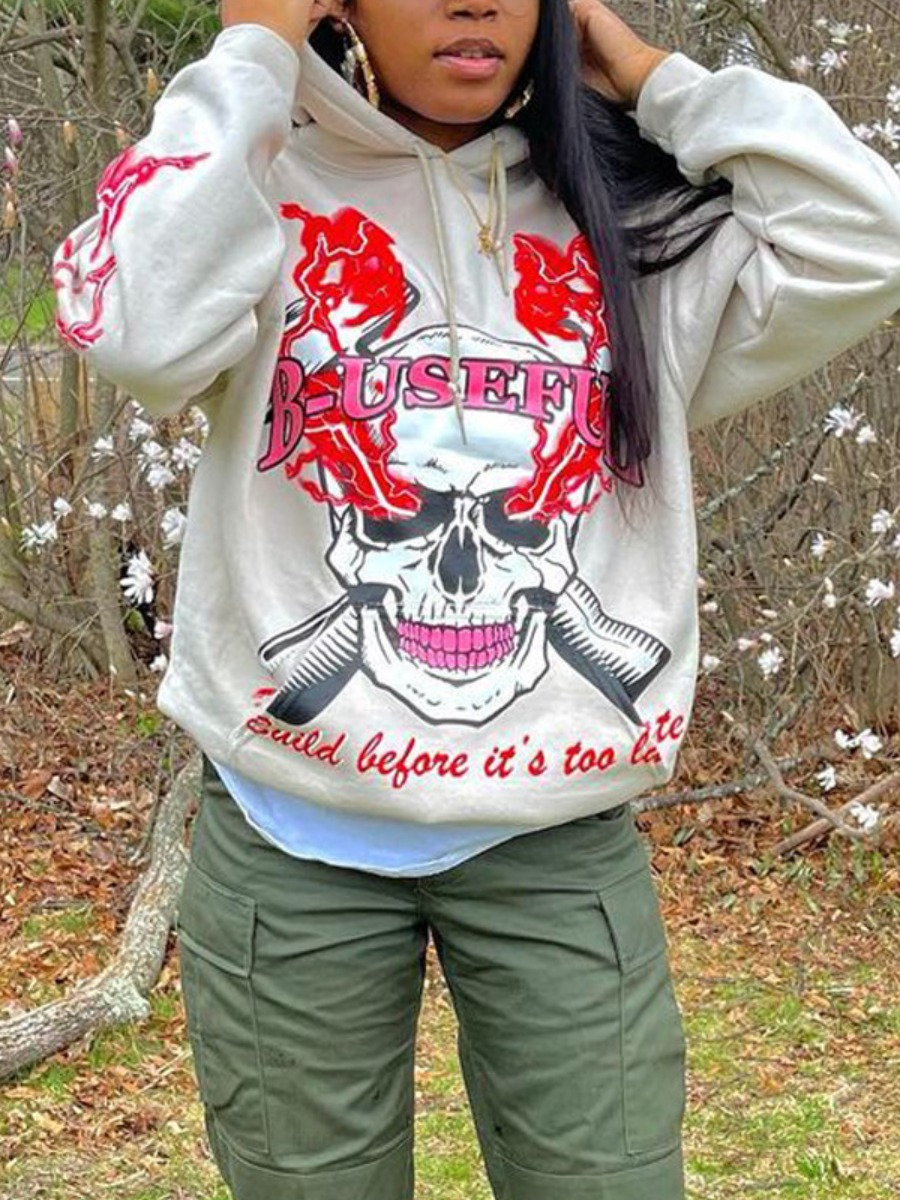 LW BASICS Polyester Skull Head Print Loose Sweatshirts&Hoodies
