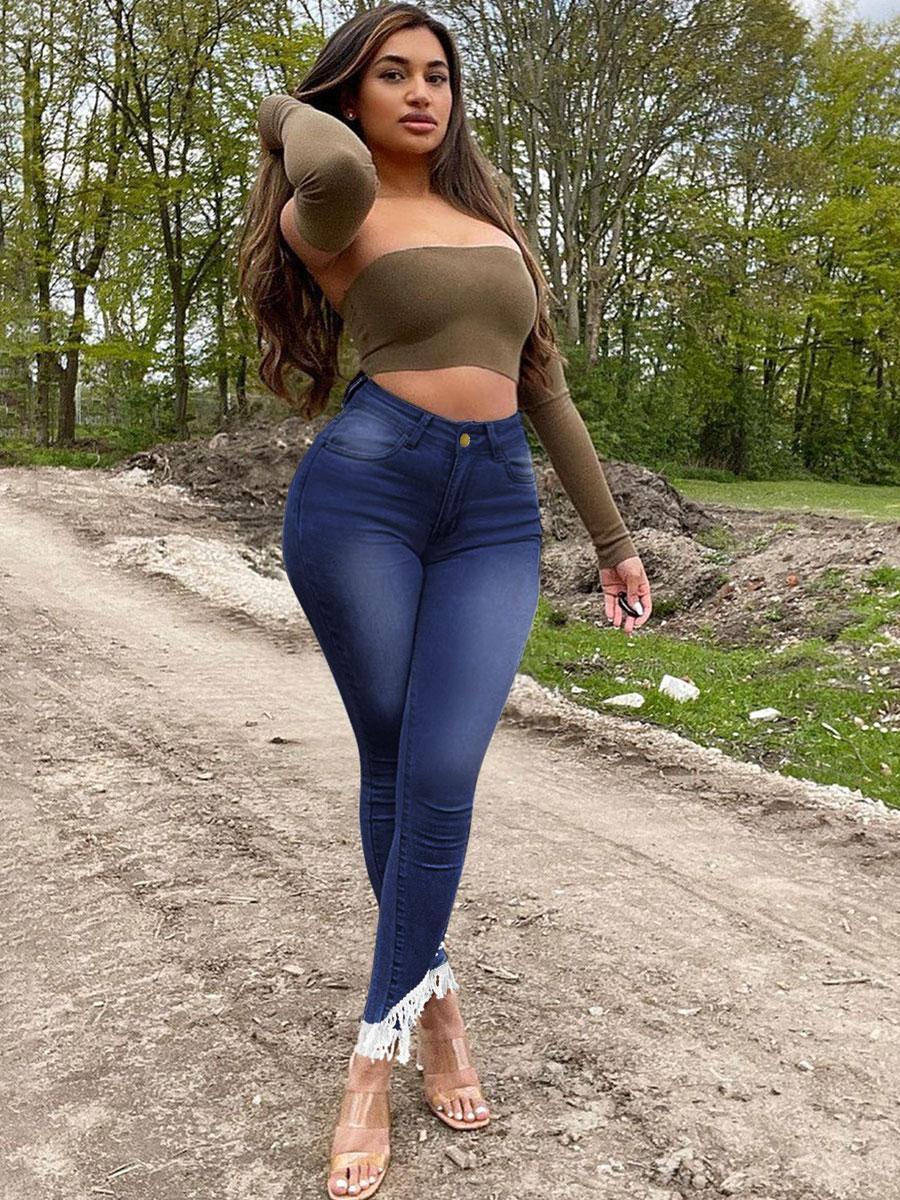 LW Denim Tassel Design Skinny Jeans
