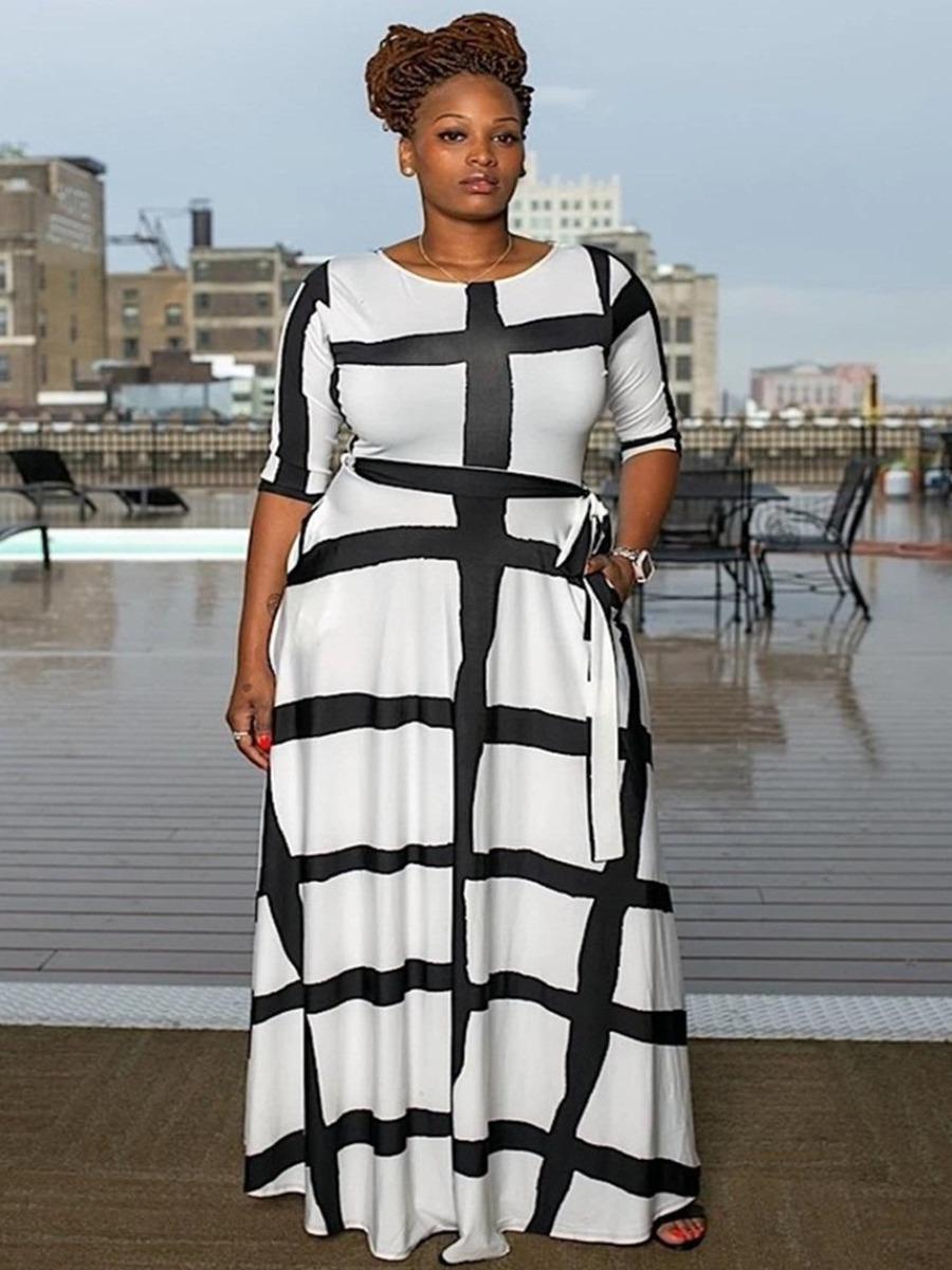 LW Plus Size Striped Bandage Design Dress