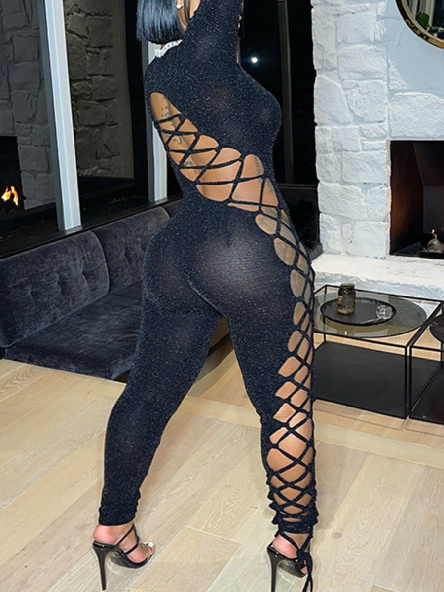 LW SXY Plus Size Bandage Hollow-out Design Skinny Jumpsuit