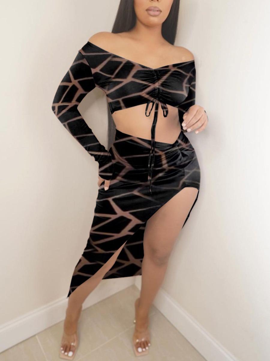 LW SXY High Split Drawstring Asymmetrical Skirt Set