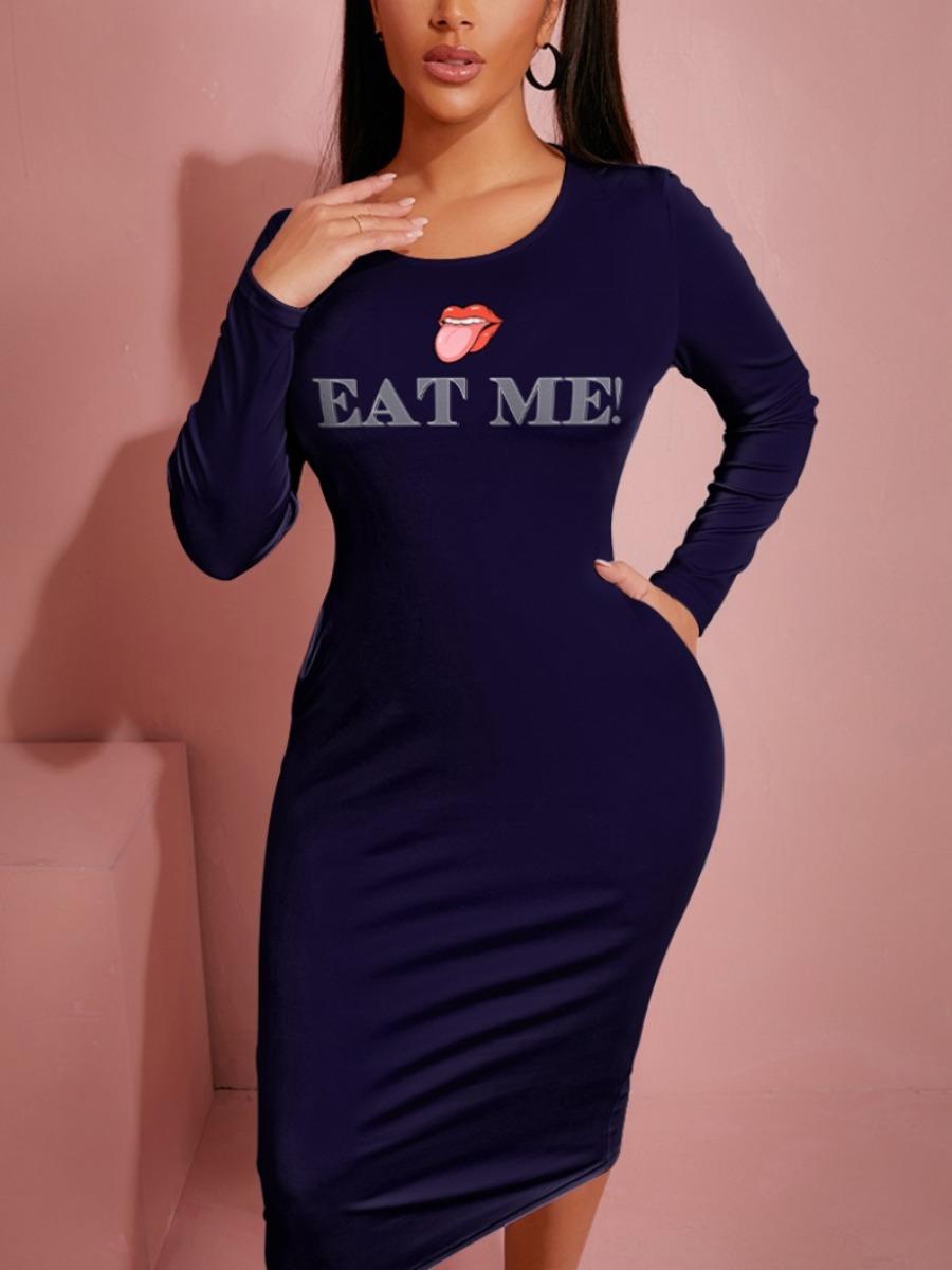 LW BASICS Letter Lip Print Bodycon Dress