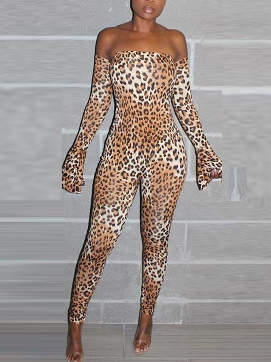 LW SXY Backless Leopard Print Flared Jumpsuit