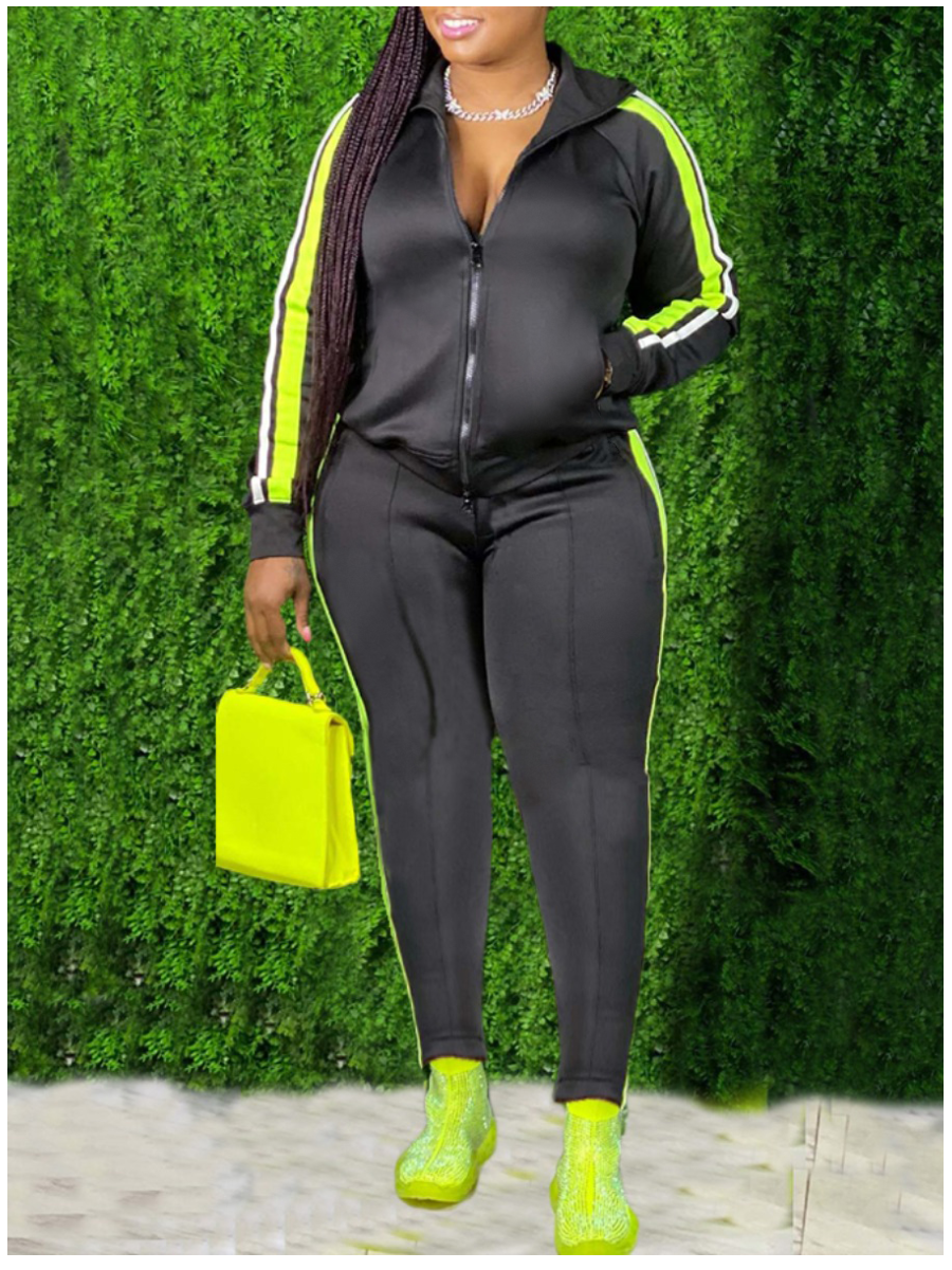 LW Hooded Collar Patchwork Tracksuit Pants Set