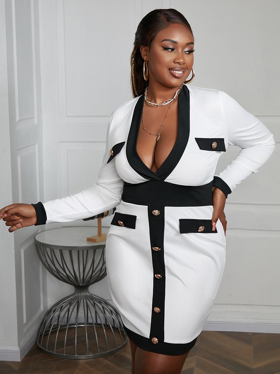 LW Plus Size V Neck Button Design Bodycon Dress