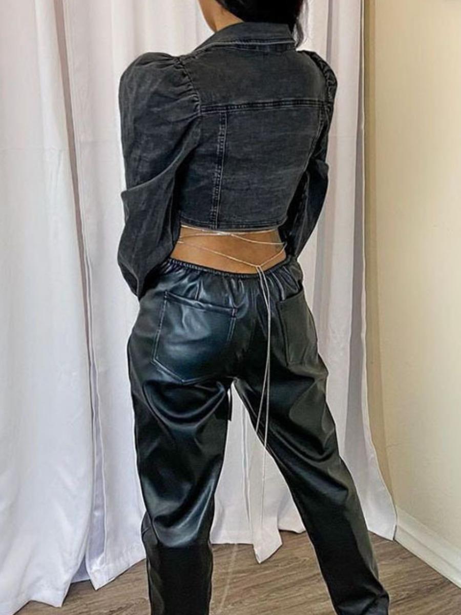 LW Puff Sleeve Double Drawstring Denim Jacket