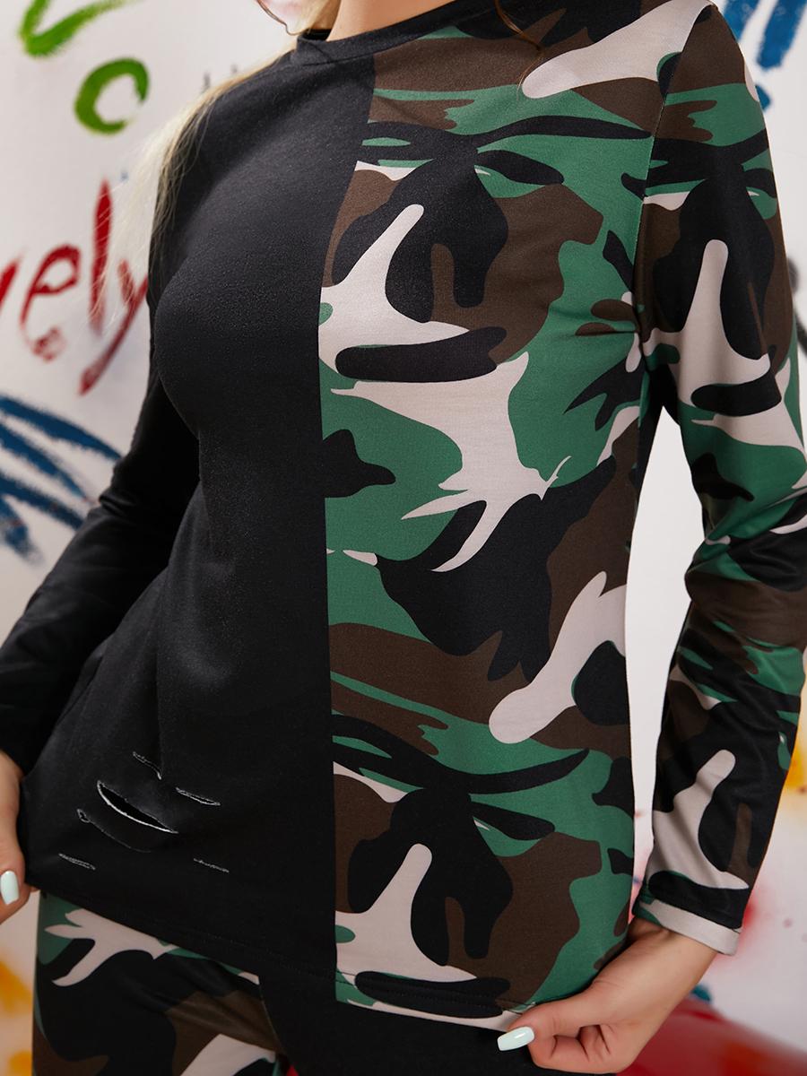 LW Camo Print Ripped Pants Set