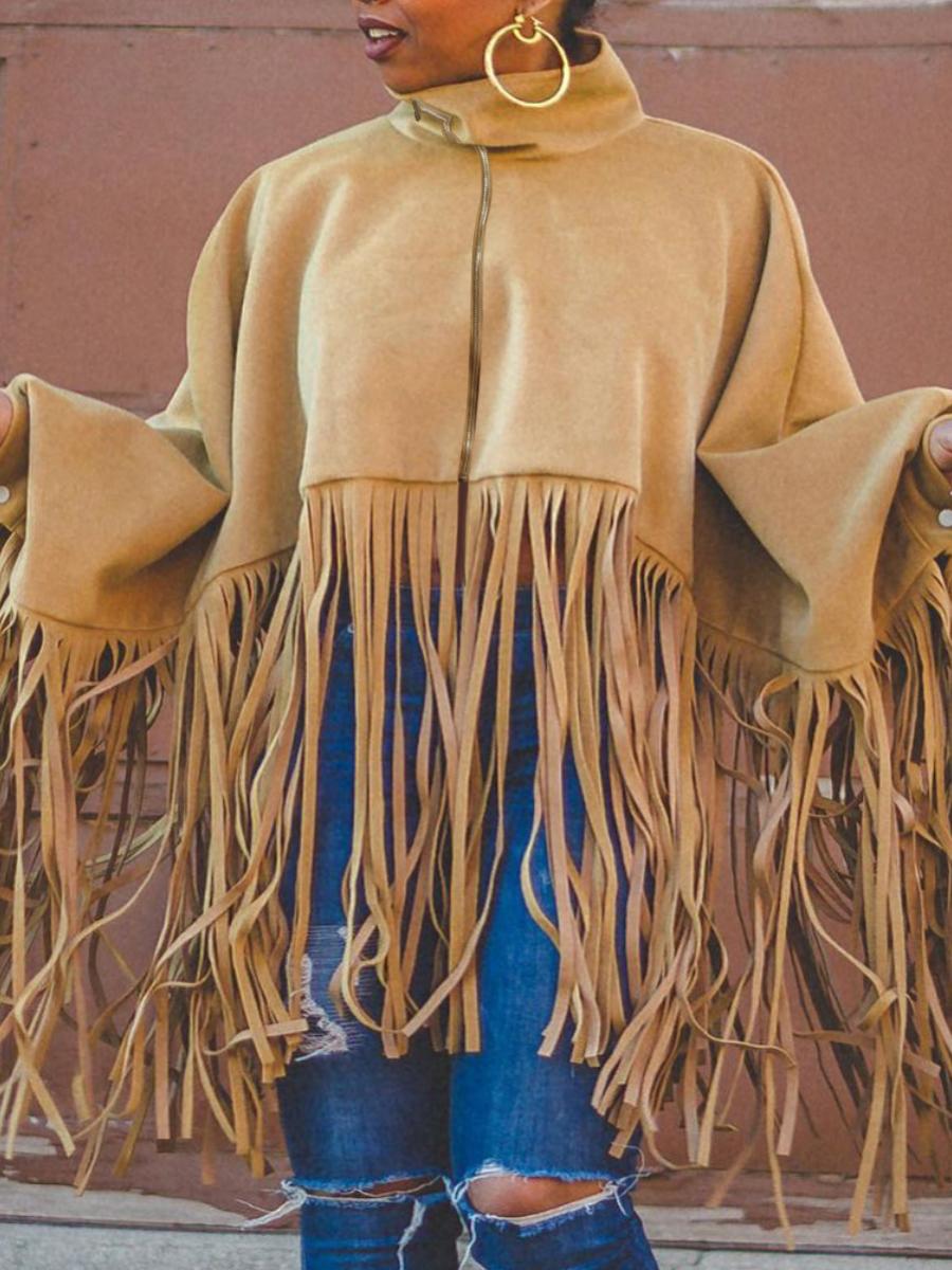 LW Plus Size Zipper Tassel Design Coat
