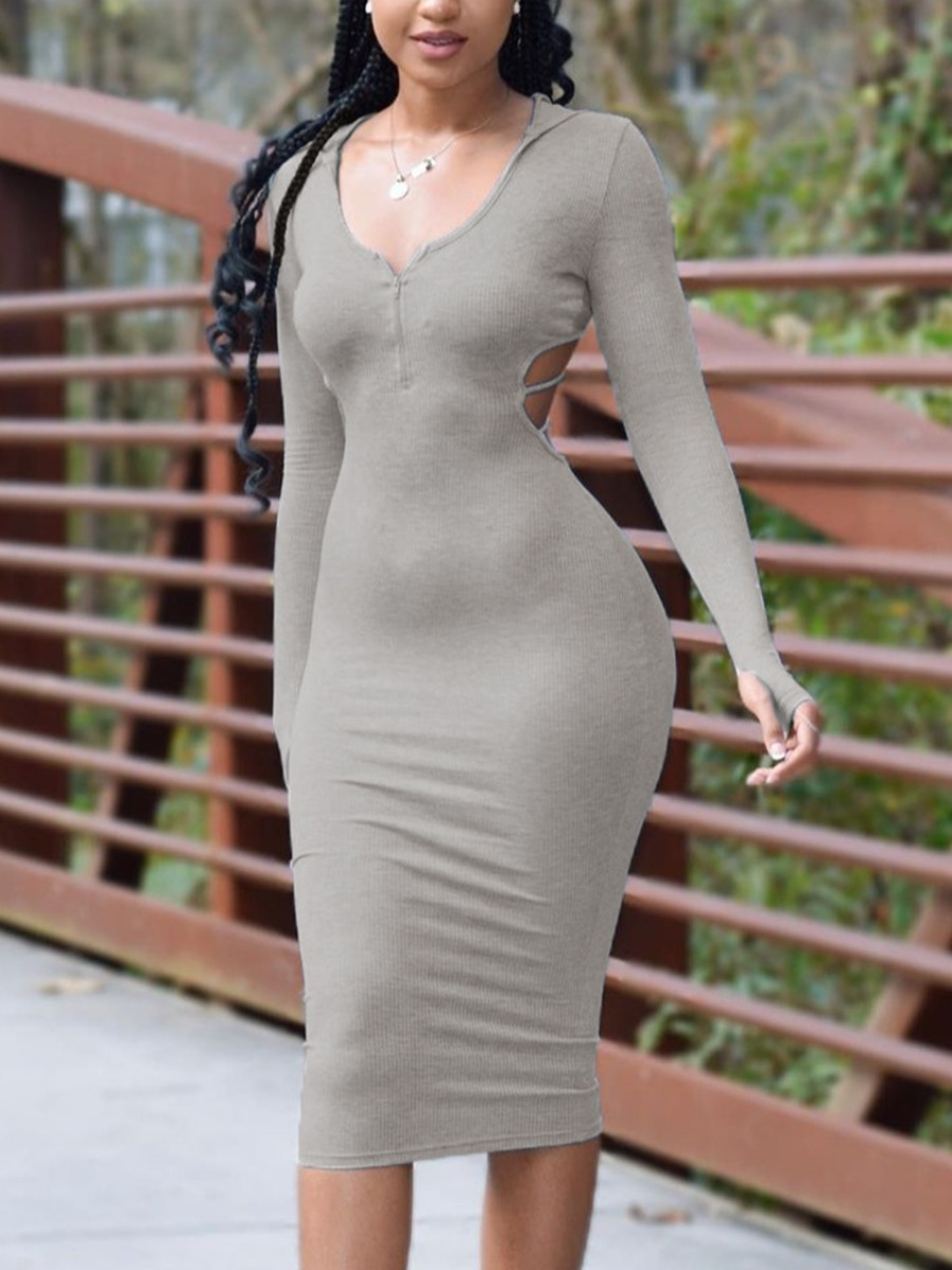LW SXY Rib Knit Hollow-out Design Dress
