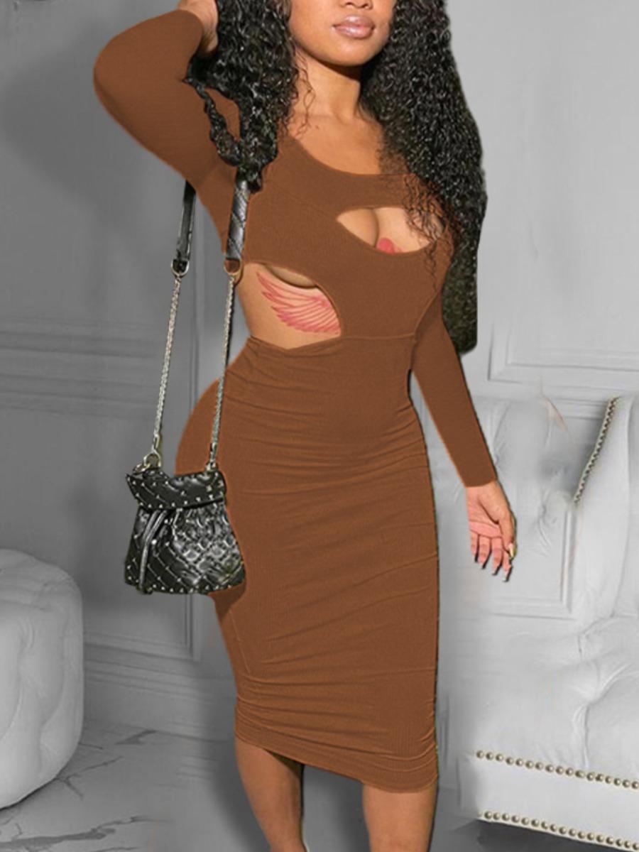 LW SXY Rib Knit Cut Out Bodycon Dress
