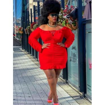 LW Plus Size Elegant Ruffle Hem Ruched Dress