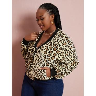 LW Plus Size Leopard Print Zipper Design Teddy Coat