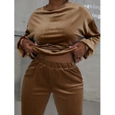 LW EDGE Velvet Solid Pants Set