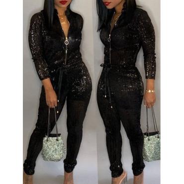 LW Sequined Zipper Design Jumpsuit