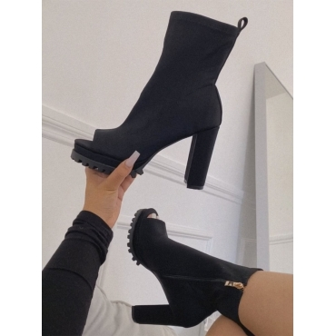LW Chunky Sole Round-toe Black Booties