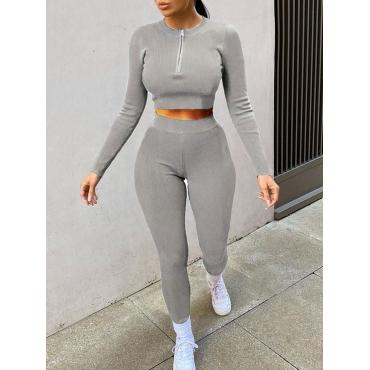 LW BASICS Rib-knit Zipper Design Pants Set