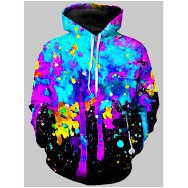 LW Men Street Hooded Collar Graffiti Print Multicolor Hoodie