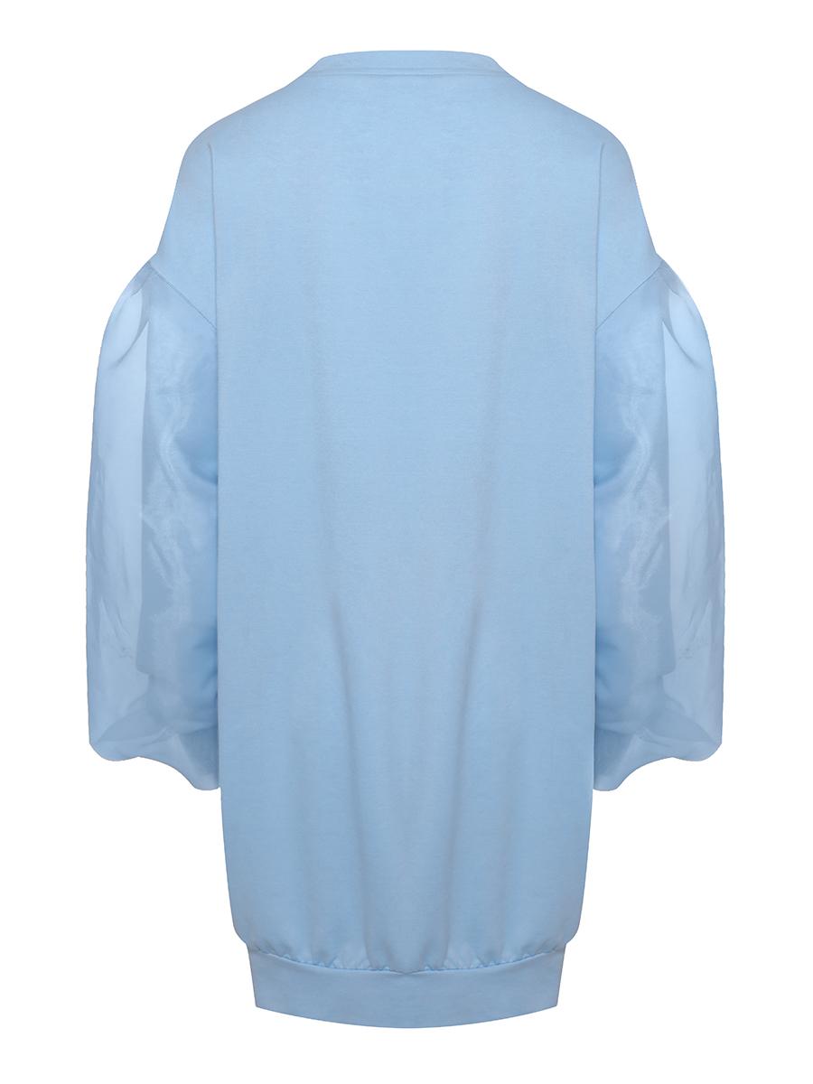 LW Mesh Lantern Sleeve Sweat Dress