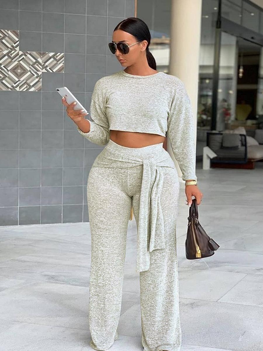 LW Plus Size Lace Up Crop Top Pants Set