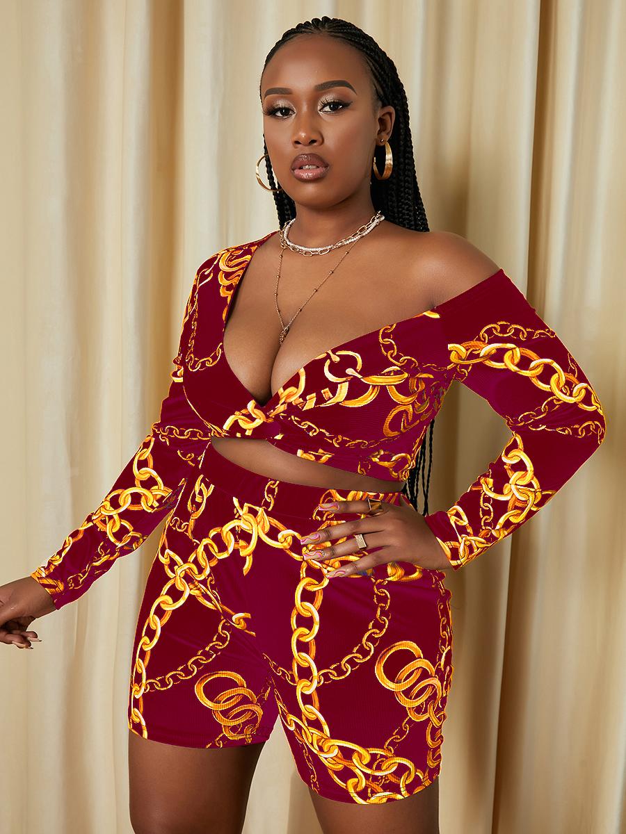 LW SXY Plus Size Drop Shoulder Chain Print Shorts Set