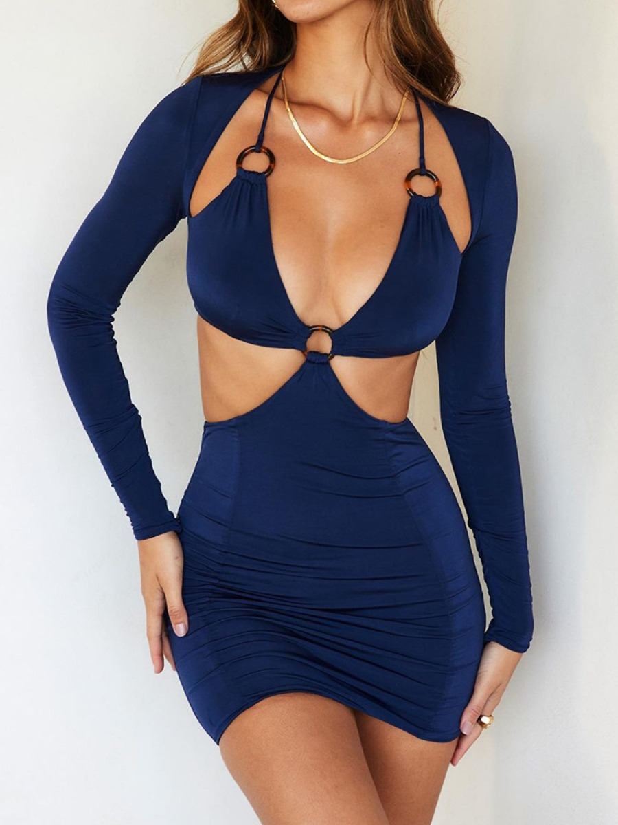 LW SXY Ring Decor Cut Out Solid Bodycon Dress