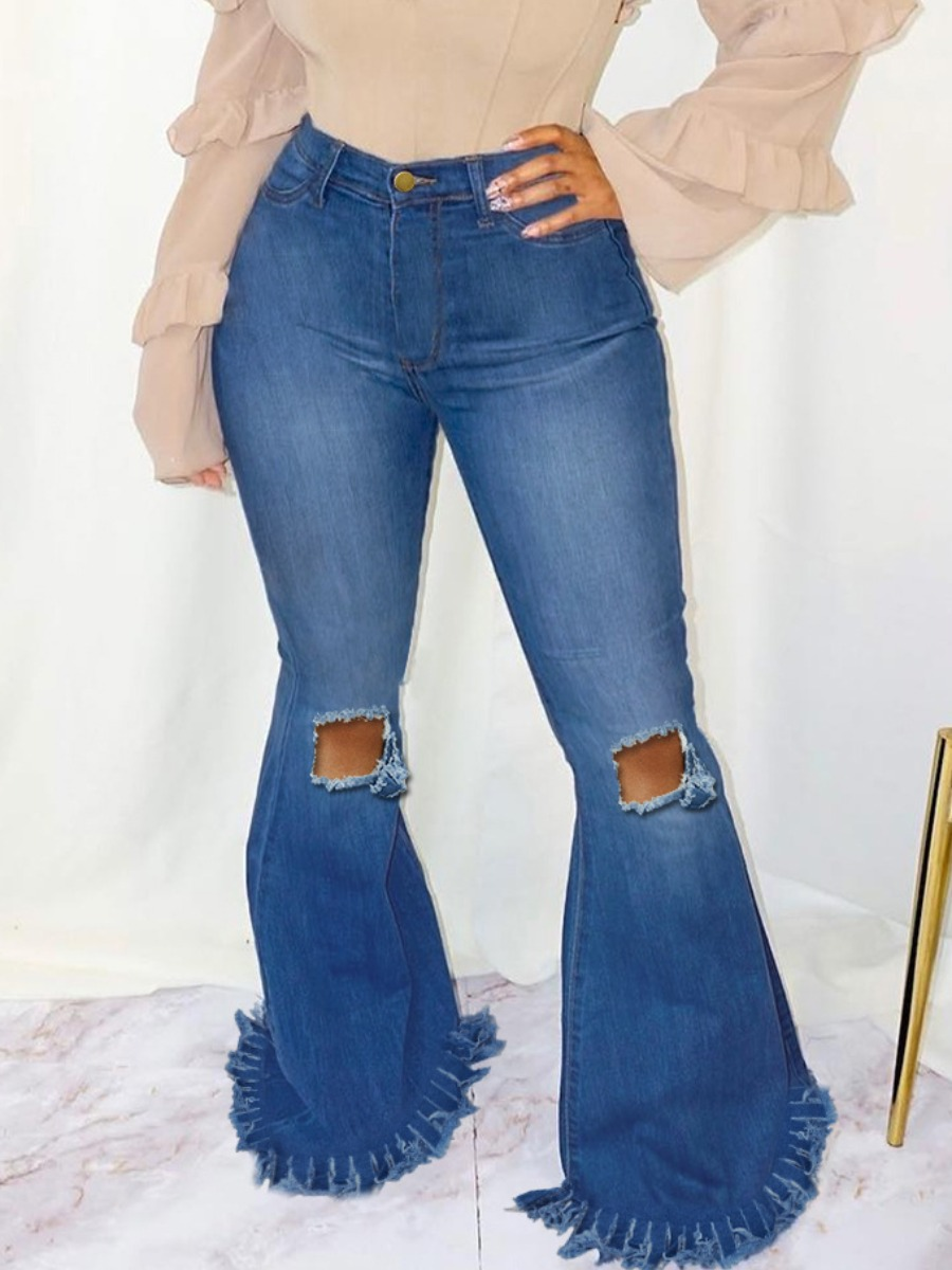 LW Raw Edge Ripped Flared Jeans