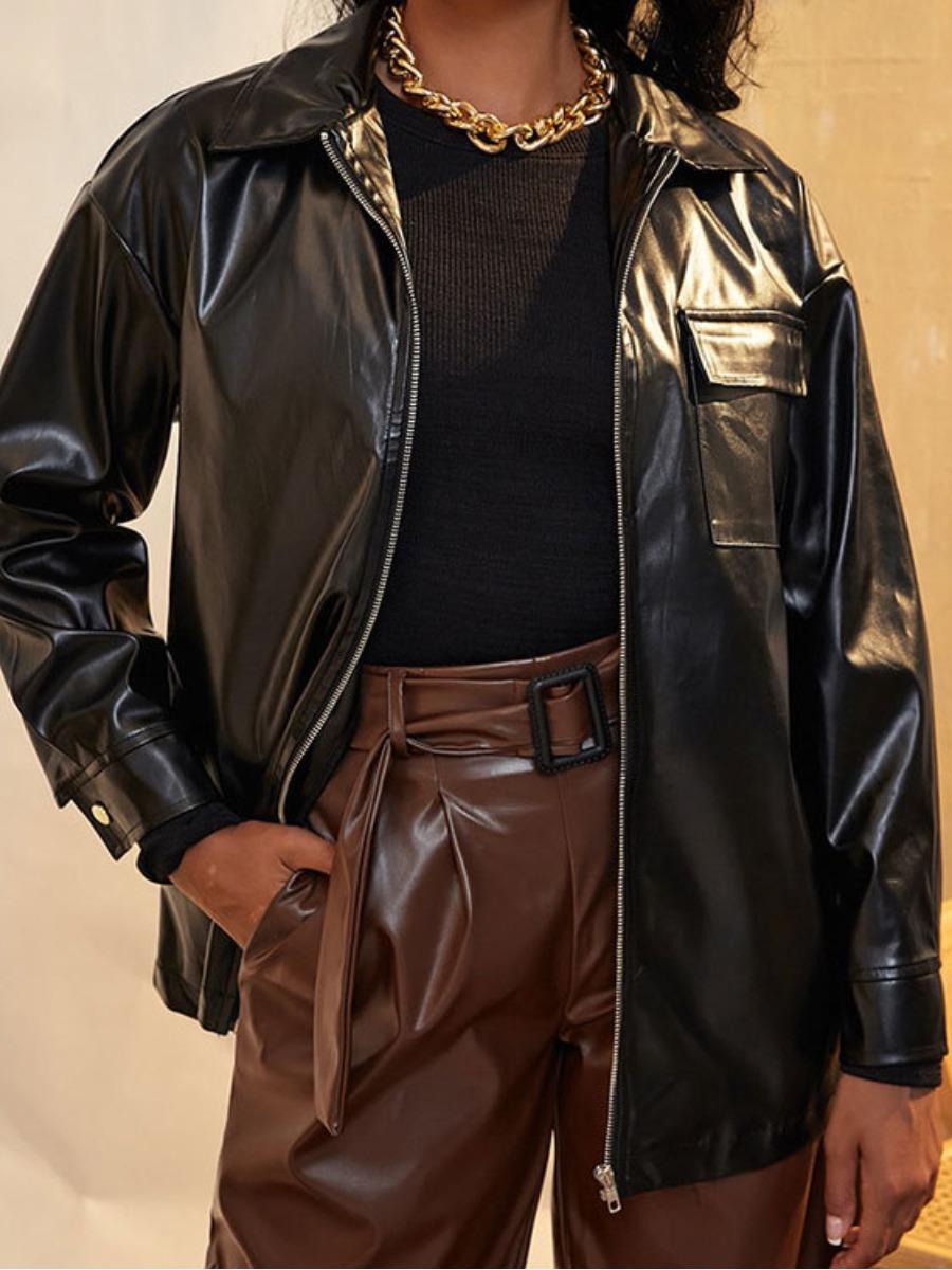 LW Zipper Design Pocket Design Leather