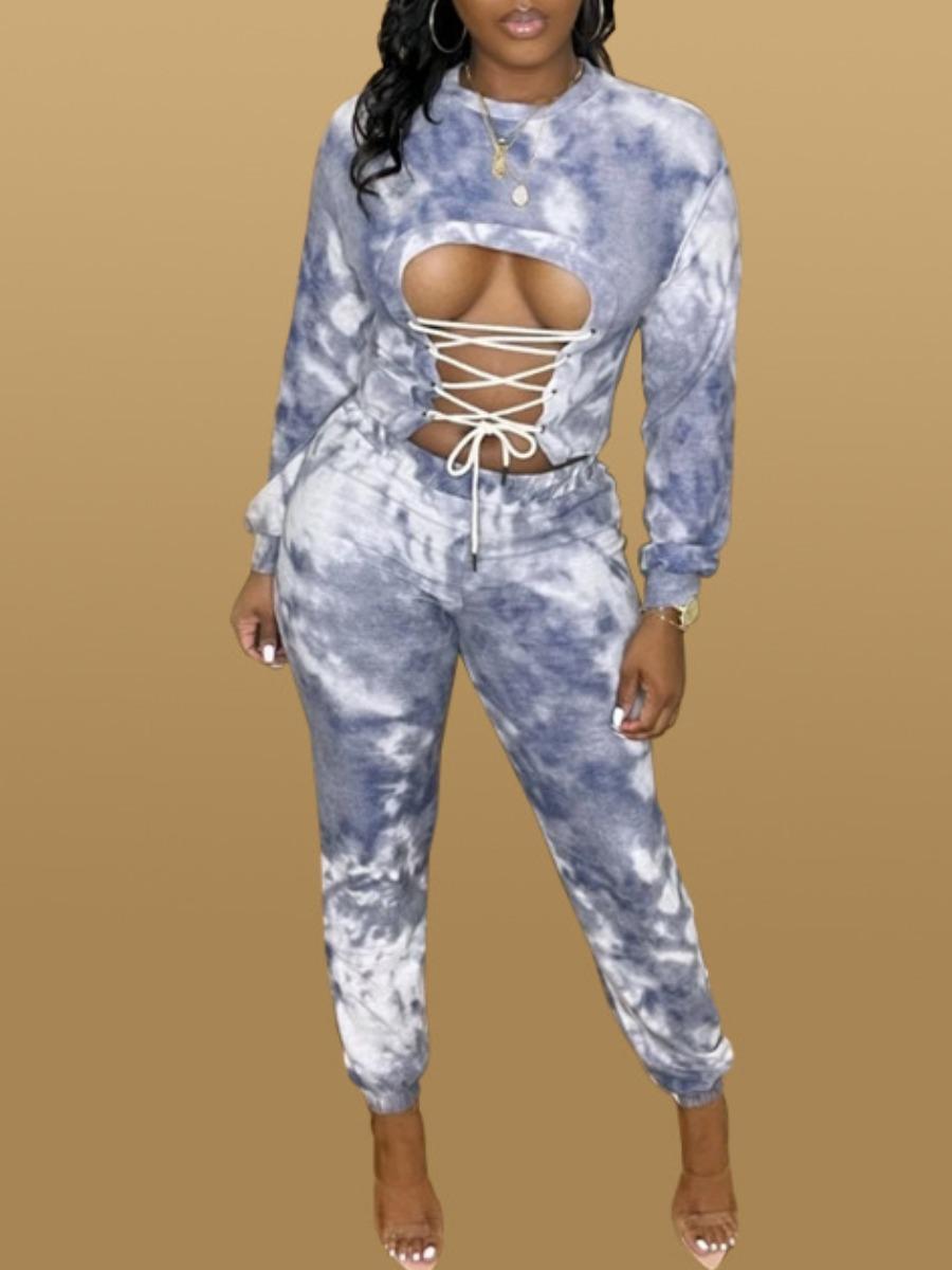 LW SXY Cotton Bandage Design Tie Dye Pants Set